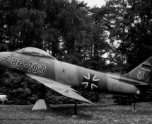CL.13 Sabre WGAF as a monument near the main-gate (HE)