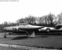 Thunderjet TB-1 seen as gate-guard at Eindhoven AB in 1972 (HE)