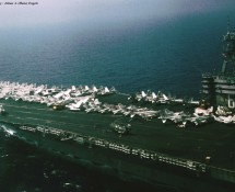 view from CH-46 of middle-deck  USS NIMITZ (HE)