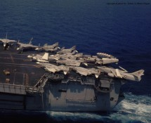 view from CH-46 of after-deck  USS NIMITZ (HE)
