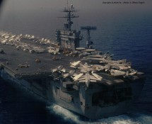 USS NIMITZ from behind (view from CH-46 ) (HE)