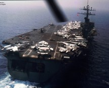 USS NIMITZ from behind (view from CH-46) (HE)