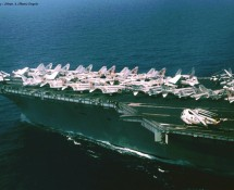 view from CH-46 of front-deck  USS NIMITZ (HE)
