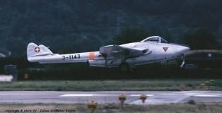 De Havilland Vampire J-1143 Zwits.LM Sion 23-6-1989 J.A.Engels