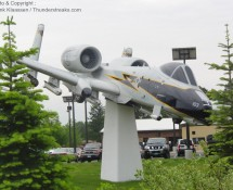 Fairchild A-10A 79-0103 of the Connecticut ANG as gate-guard at Bradley, May 2012 (FK)
