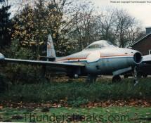 F-84G Thunderjet as gate-guard at Eindhoven in KLu75 c/s in 1988 (FK)