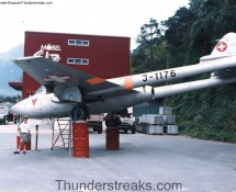 Swiss Vampire J-1176 was displayed in front of a shop in Visp (CH) in 1993 (FK)